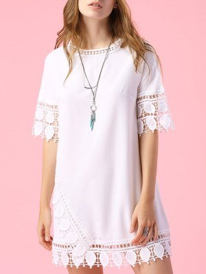Short Sleeve Lace Trim Dress - White