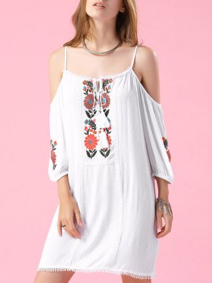 Embroidered Cold Shoulder White Top - White