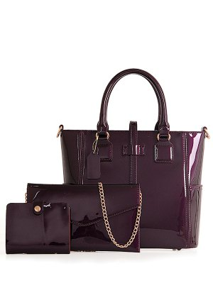 Patent Leather Strap Solid Color Tote Bag - Purple