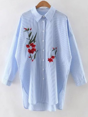 Floral Embroidery Long Sleeve Stripe Shirt - Blue