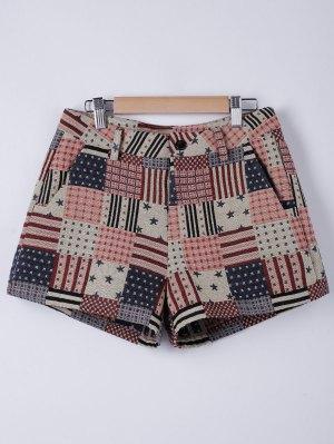 American Flag Shorts - Flaxen S