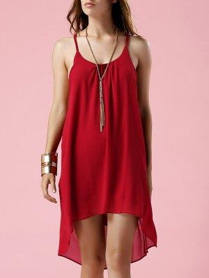 Irregular Hem Spaghetti Strap Slip Dress - Red