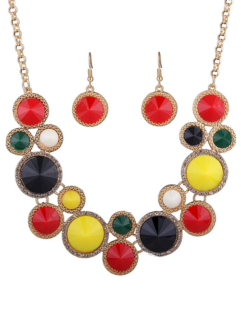 Faux Gem Rhinestone Round Necklace and EarringsAccessories<br><br><br>Color: COLORMIX