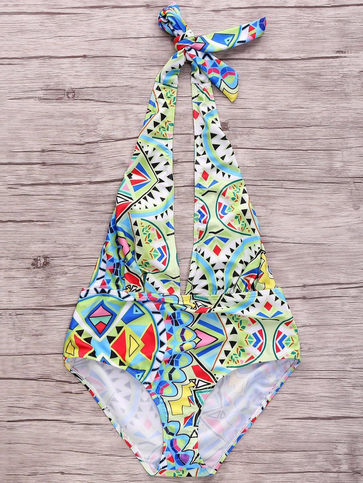 Plunging Neck Geometric Pattern One Piece Swimwear