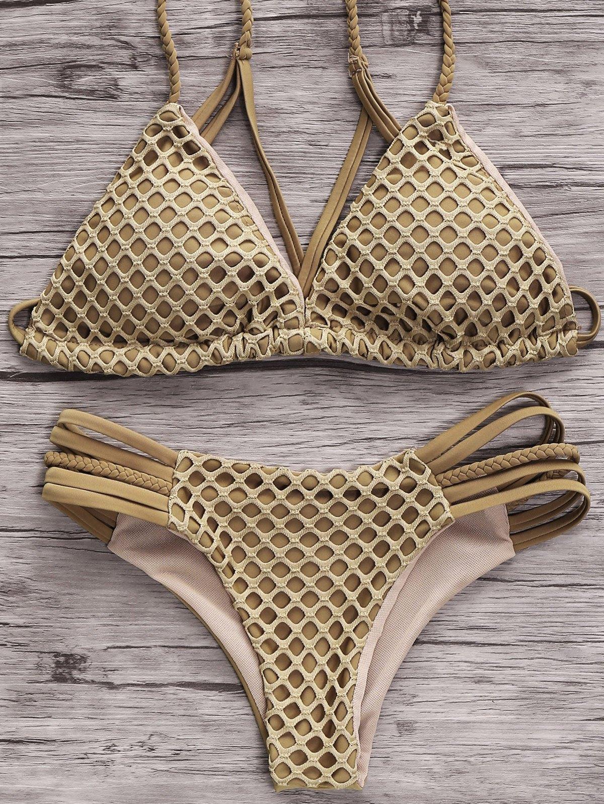 Spaghetti Straps Solid Color Mesh Bikini Set