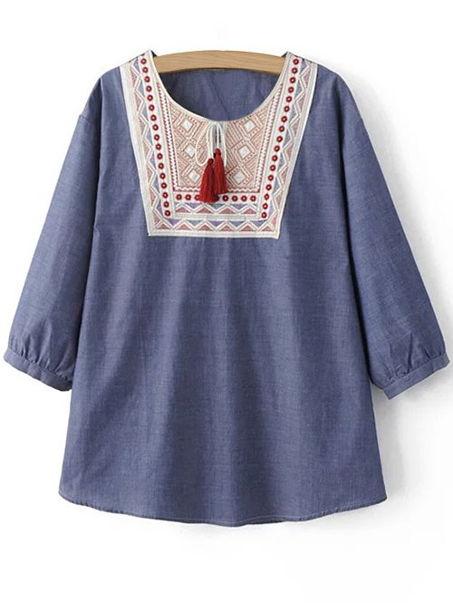 Round Neck 3/4 Sleeve Ethnic Embroidery Blouse