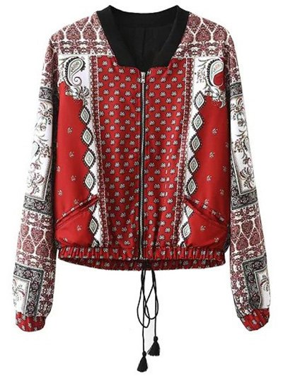 Stand Neck Long Sleeve Vintage Print Jacket