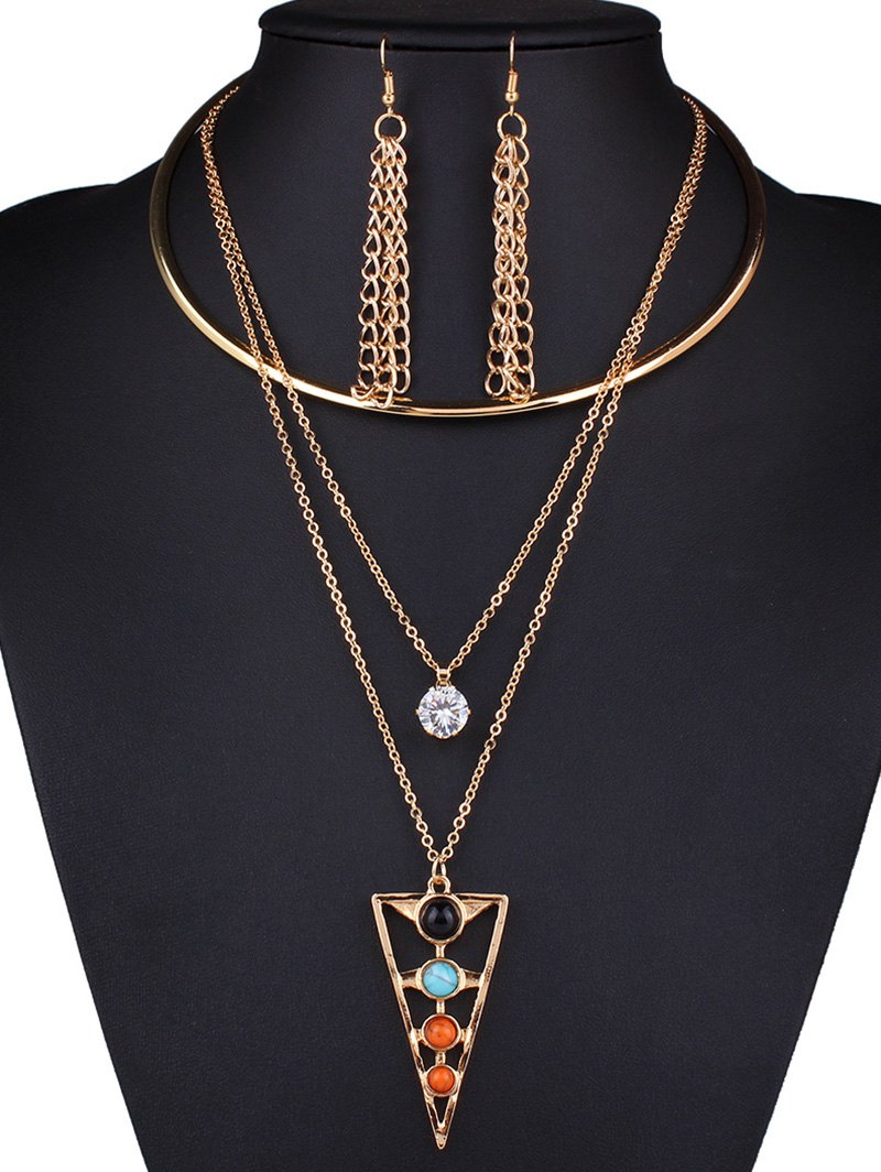 Rhinestone Triangle Tassel Necklace and EarringsAccessories<br><br><br>Color: GOLDEN