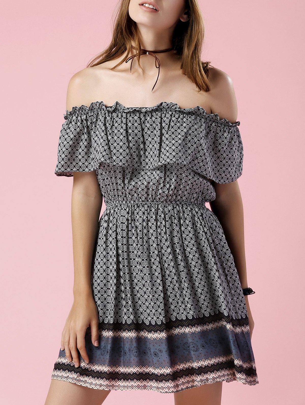 Printed Off The Shoulder Waisted Mini DressClothes<br><br><br>Size: 2XL<br>Color: BLACK GREY