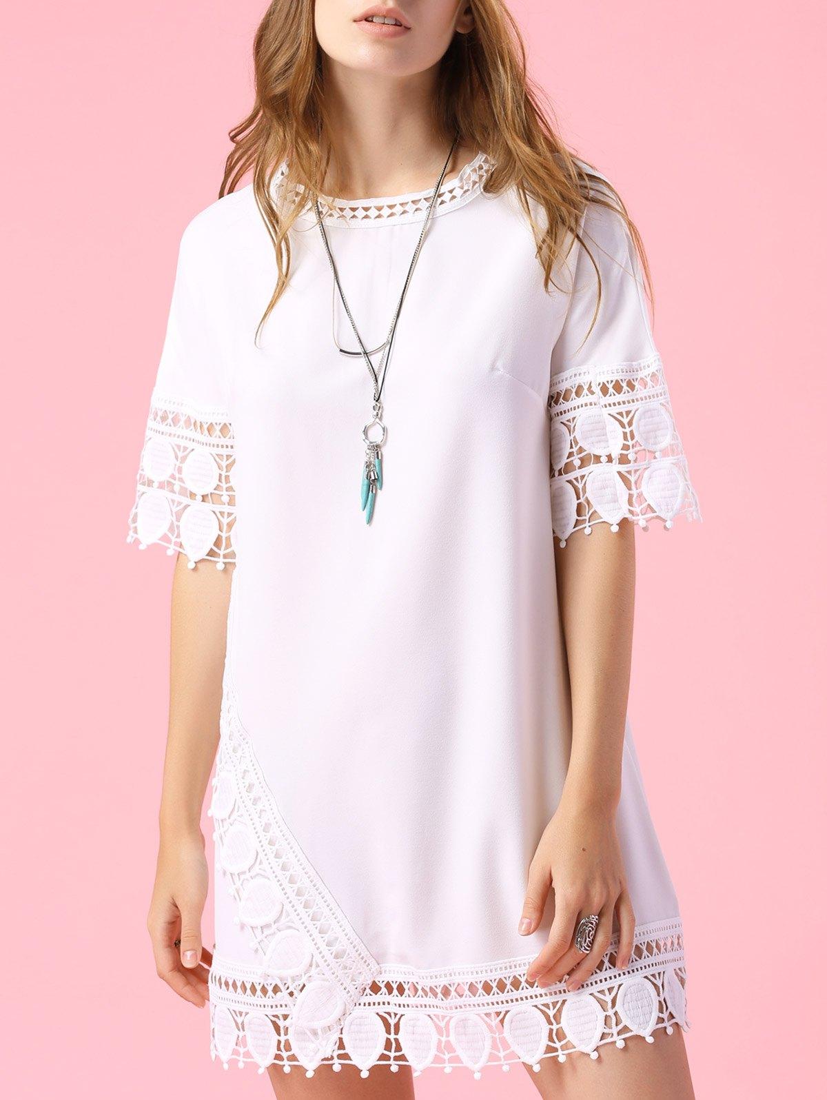 Short Sleeve Lace Trim Dress