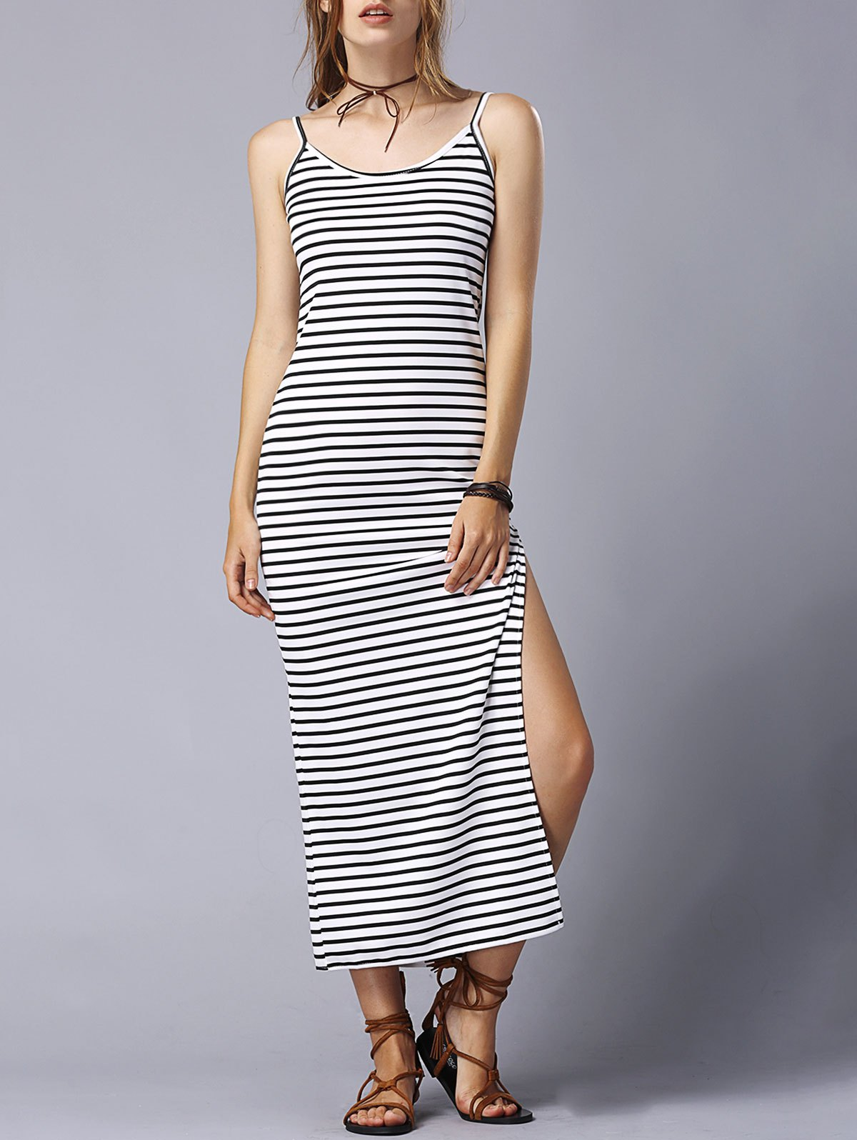Striped High Slit Spaghetti Straps Sleeveless Dress