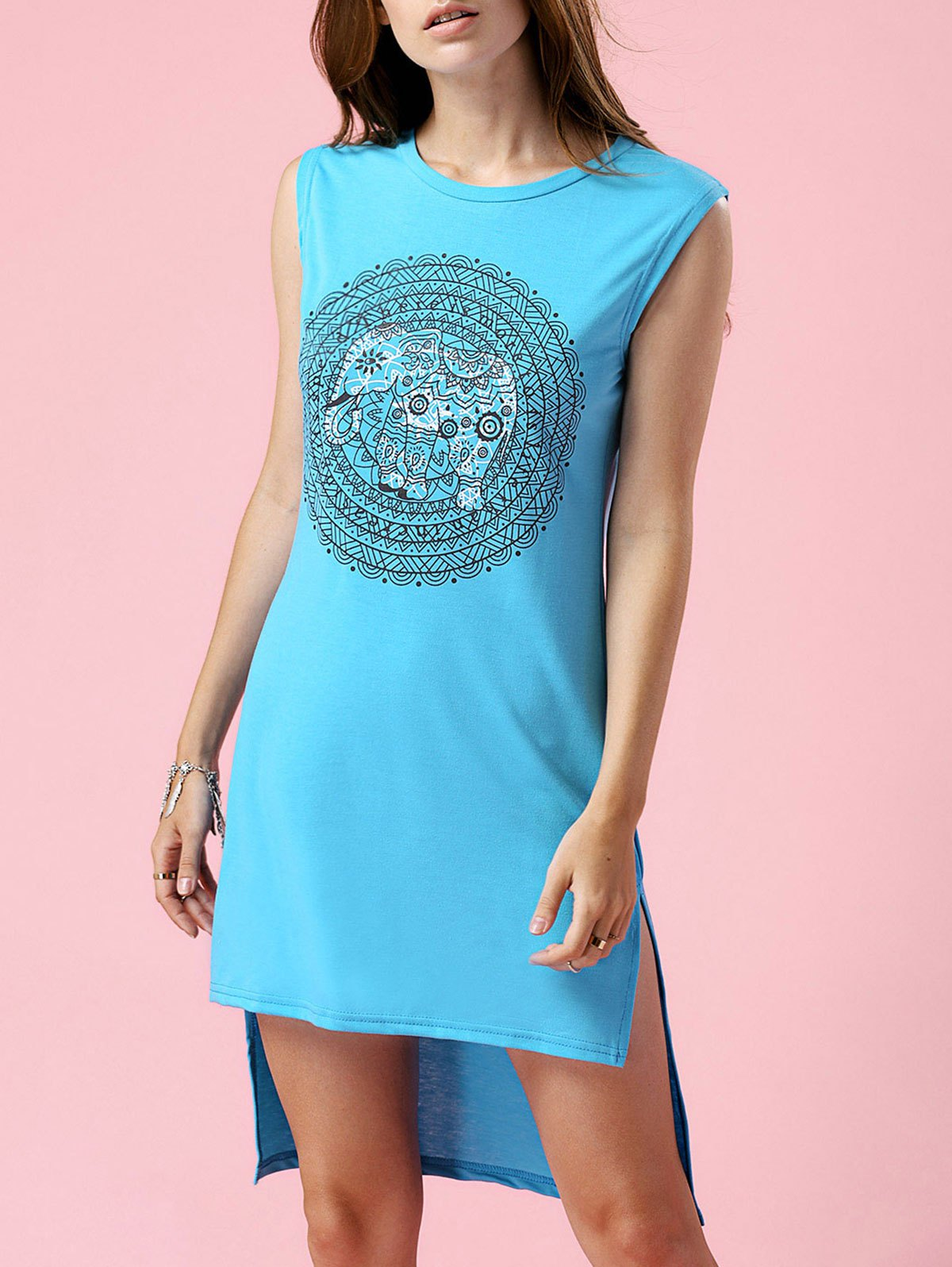 Round Neck Sleeveless High-Low Printed Dress
