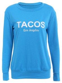 Blue Letter Print Long Sleeve Sweatshirt - BLUE XS