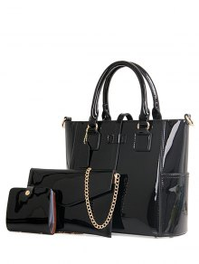 Patent Leather Strap Solid Color Tote Bag - Black