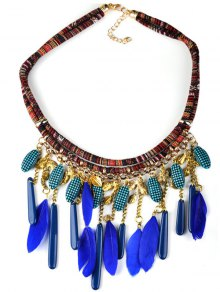 Buy Bohemian Blue Feathers Shell Pendant Necklace - BLUE