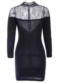 3/4 Sleeve Lace Splicing Dress - BLACK XS