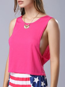 U Neck Pure Color Cut Out Tank Top