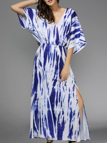 Blue Print Plunging Neck 3/4 Sleeve Maxi Dress