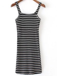 Fitted Striped Straps Sleeveless Dress