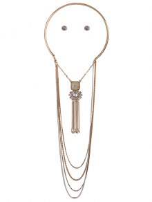 Rhinestone Multilayer Chain Tassel Necklace and Earrings