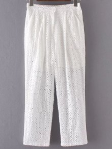 Hollow Out Solid Color Pants - White