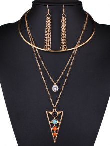 Rhinestone Triangle Tassel Necklace and Earrings