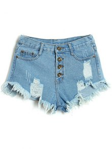 Button Fly Ripped Denim Shorts