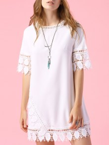 Short Sleeve Lace Trim Dress