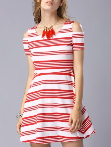 Striped Scoop Neck Short Sleeve Cold Shoulder Dress