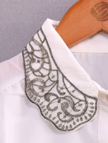 Embroidery Turn-Down Collar Shirt