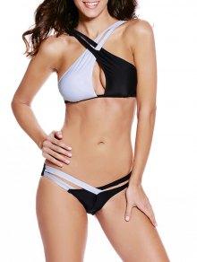 Color Block Crossed Bikini Set - White And Black