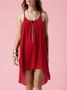 Irregular Hem Spaghetti Strap Slip Dress - Red L