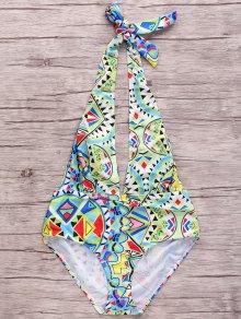Geometric Pattern Plunging Neck One Piece Swimwear