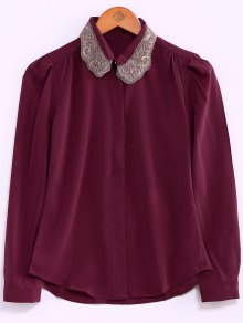 Embroidery Collar Loose Shirt
