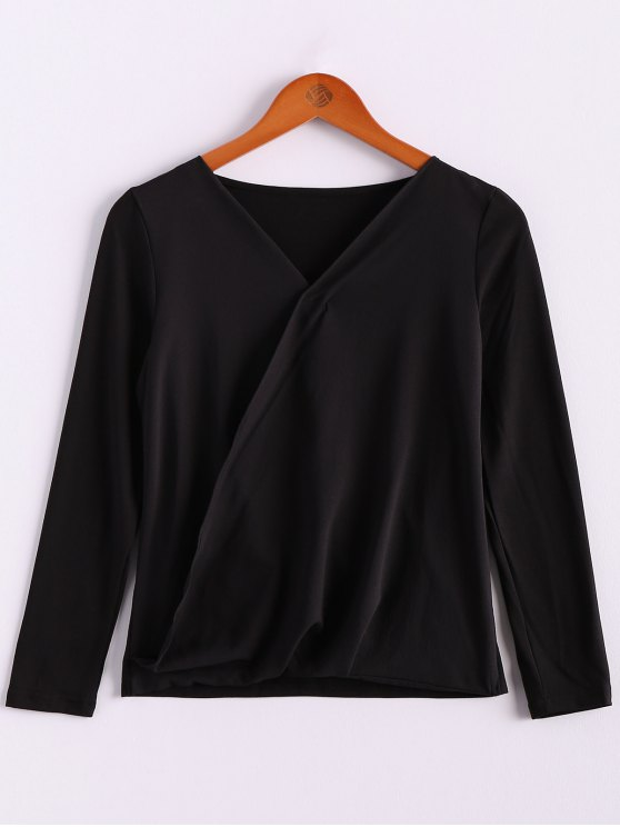 outfit V-Neck Long Sleeve Splicing Blouse - BLACK S