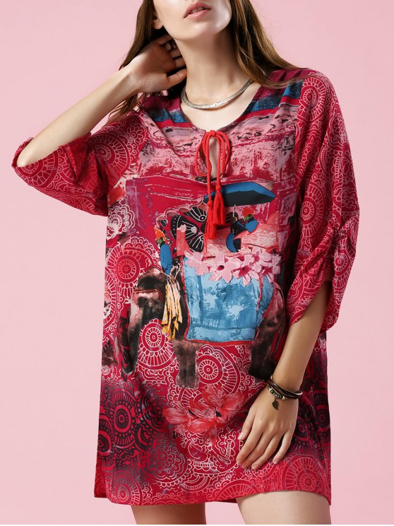 chic Elephant Print V Neck 3/4 Sleeve Dress - COLORMIX L