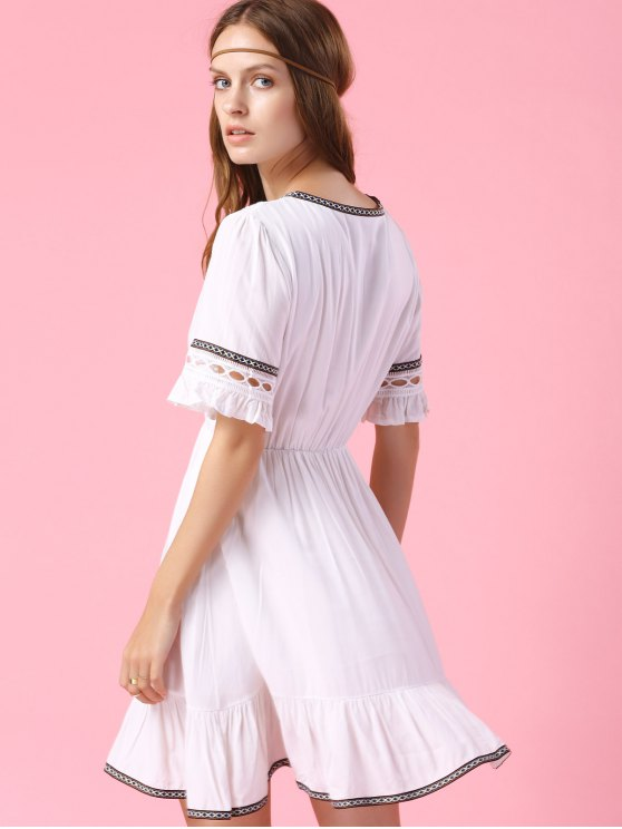 Embroidery V Neck Short Sleeve A Line Dress - WHITE XL Mobile