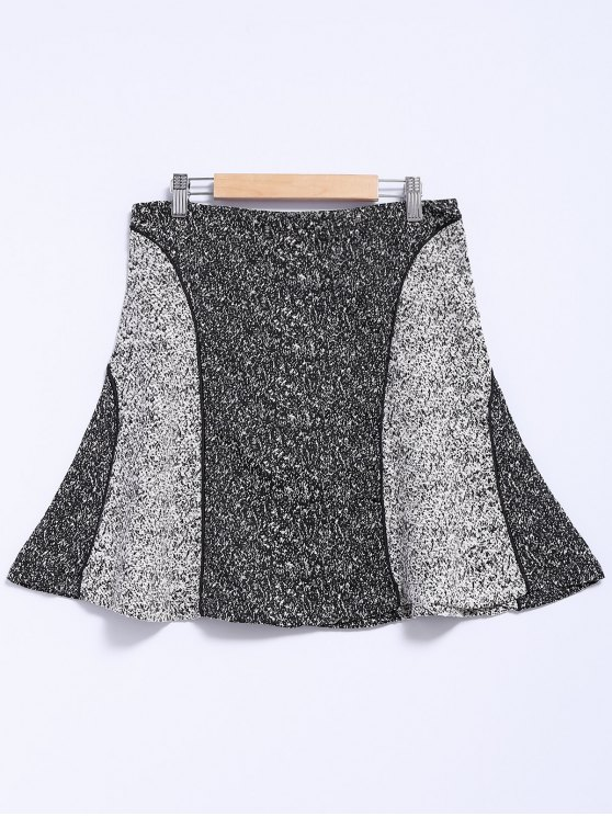 ladies Color Block A-Line Splicing Skirt - GRAY S
