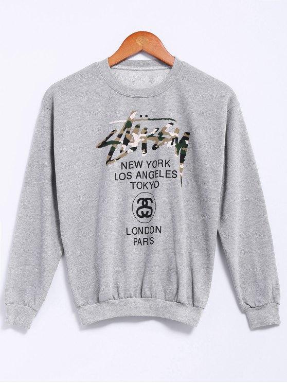 womens Golden Letter Print Sweatshirt - GRAY S