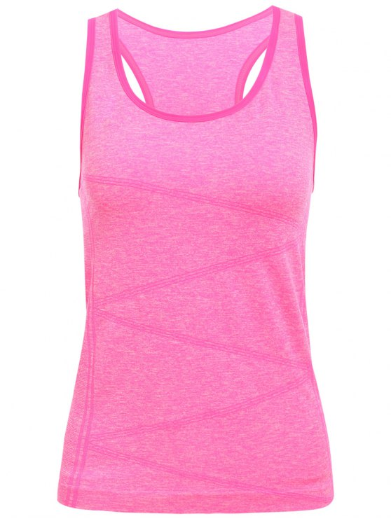 Space Dyed U Neck Racerback Top - Rose loco M