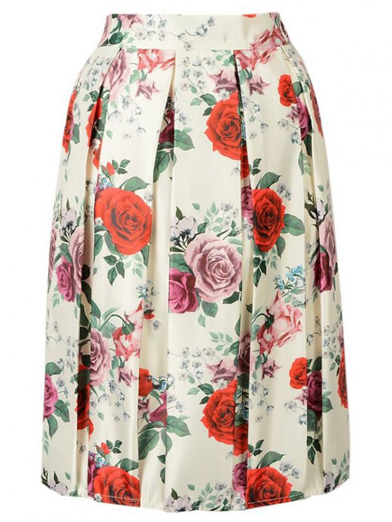 trendy Rose Print A Line Skirt - BEIGE ONE SIZE(FIT SIZE XS TO M)