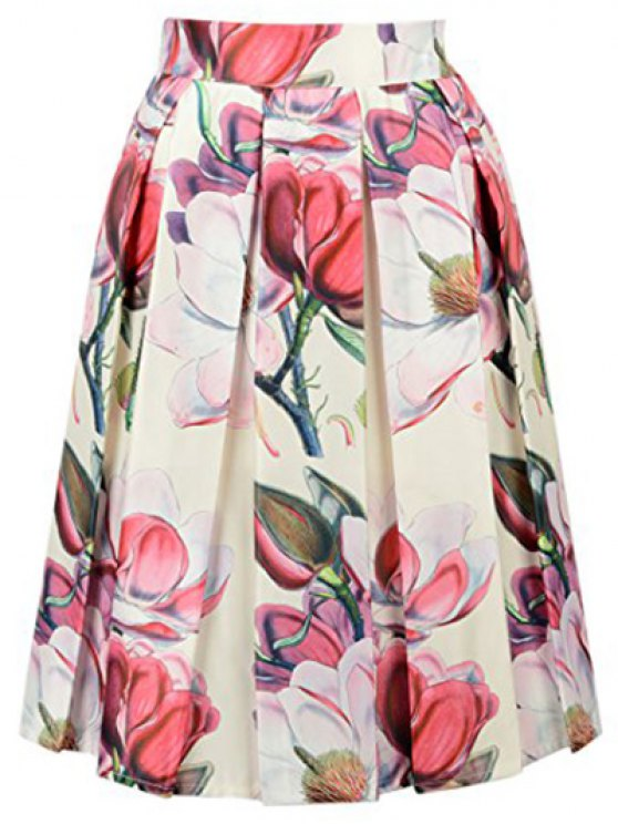 unique Flower Print High Waisted A Line Skirt - OFF-WHITE ONE SIZE(FIT SIZE XS TO M)