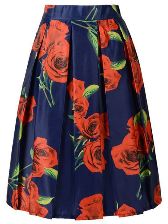 A Line Red Rose Print Skirt - PURPLISH BLUE ONE SIZE(FIT SIZE XS TO M) Mobile