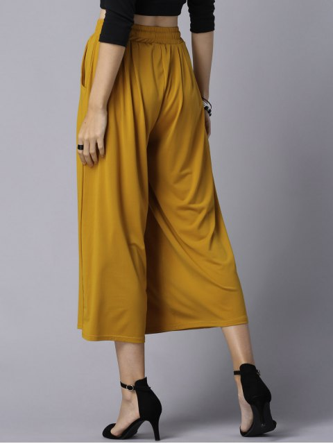 new Wide Leg Elastic Waist Drawstring Pants - GINGER XL Mobile
