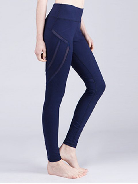 fashion Mesh Panelled Active Leggings - CADETBLUE S Mobile