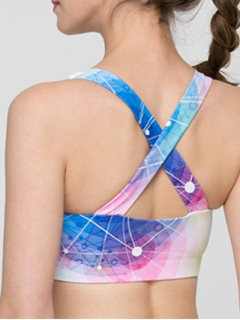 womens Full Coverage Colorful Hollow Out Criss Sport Bra - COLORMIX S Mobile