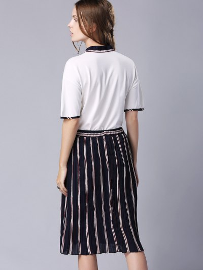 Bow-Tie Tee and Pleated Stripe Skirt от Zaful.com INT
