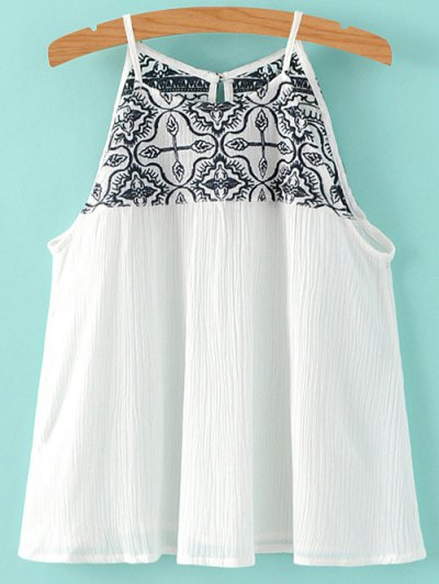 Cami Embroidery Pleated Tank Top - White