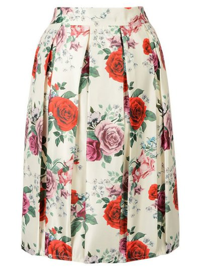 Rose Print A Line Skirt - BEIGE ONE SIZE(FIT SIZE XS TO M) Mobile