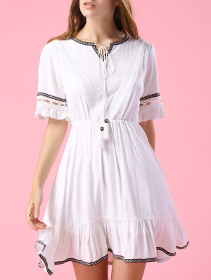 Embroidery V Neck Short Sleeve A Line Dress - White